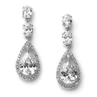 USABride Cubic Zirconia Tear Drop, Dangle CZ Wedding Earrings 1189: Bridal Jewelry: Jewelry