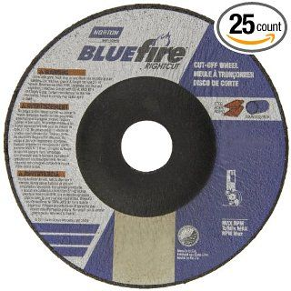 """Norton Blue Fire Plus Right Cut Right Angle Grinder Reinforced Abrasive Flat Cut off Wheel, Type 27, Zirconia Alumina and Aluminum Oxide, 7/8"""" Arbor, 4 1/2"""" Diameter x 0.045"""" Thickness (Pack of 25) Abrasive Cutoff Wheels Industrial & S"""
