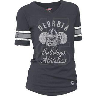 SOFFE Womens Georgia Bulldogs Drop Tail Football Alternate Logo Short Sleeve T