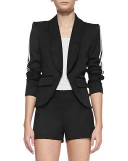 Womens Striped Sleeve Crepe Blazer   Pam & Gela   Black (6)
