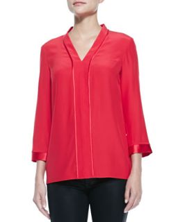Womens Lucy Long Sleeve V Neck Blouse   Lafayette 148 New York   Dynamite (4)