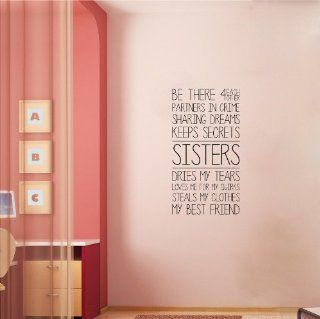 Sisters (M) Wall Saying Vinyl Lettering Home Decor Decal Stickers Quotes