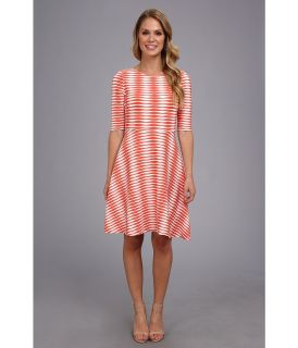 Donna Morgan Wavy Knit Fit n Flare Womens Dress (Orange)