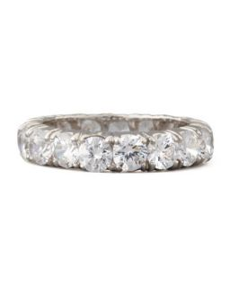 Round Cut Cubic Zirconia Eternity Band Ring   Fantasia by DeSerio   Clear (7.5)