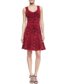 Womens Wendy Sleeveless Fit and Flare Floral Dress   ZAC Zac Posen