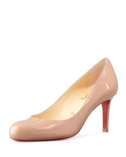 Simple Patent Red Sole Pump, Nude   Christian Louboutin   Nude (7B)