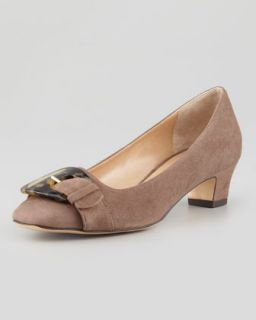 Karen Buckle Front Suede Pump, Taupe   Sesto Meucci   Taupe (39.0B/9.0B)