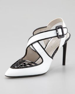 Peggy Patent Leather Woven Pump, White/Black   Jason Wu   Optic white/ blac (39.