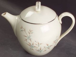 Lenox China Wyndcrest Teapot & Lid, Fine China Dinnerware   Blue Flowers, Taupe