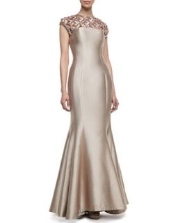 Womens Cap Sleeve Beaded Neck Gown   Kay Unger New York   Champagne (10)
