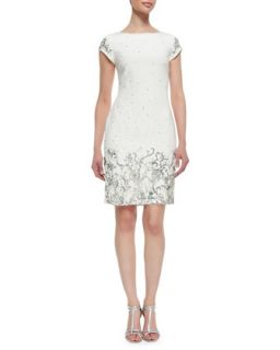 Womens Shift Style Beaded & Sequined Cocktail Dress, Ivory   Marchesa   Ivory