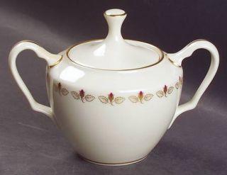 Lenox China Romance Sugar Bowl & Lid, Fine China Dinnerware   Rosebuds Inner Rin