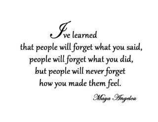 I've Learned That People Will Forget What You've Said Maya Angelou Vinyl Wall Art Quote Decal Lettering   Other Products