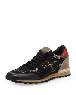 Rockstud Camo Lace Sneaker, Black   Valentino   Black (38.0B/8.0B)