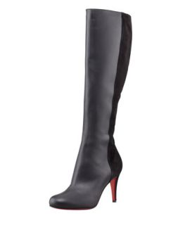 Acheval Suede Back Knee Boot, Black   Christian Louboutin   Black/Black (37.