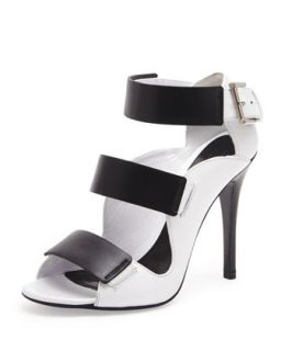 Triple Band Leather Sandal, Black/Ivory   Alexander McQueen   Black/Ivory (38.