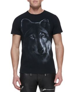 Mens Wolf Graphic Jersey Tee, Black   Diesel   Black (X LARGE)