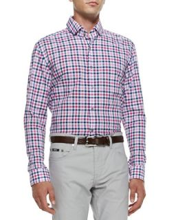 Mens Check Long Sleeve Shirt, Medium Pink   Boss Hugo Boss   Med pink (XL)