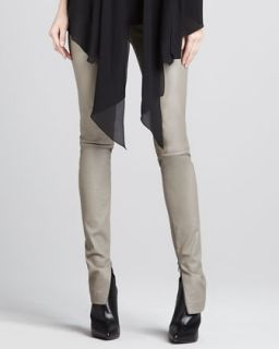 Womens Leather Zipper Cuff Leggings   Robert Rodriguez   Taupe (8)
