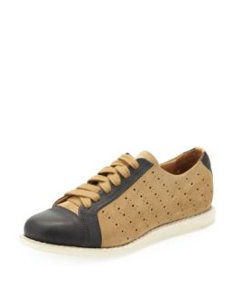 Mr. Miller Bicolor Perforated Sneaker, Camel   The Office of Angela Scott