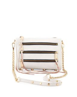Five Zip Mini Crossbody Bag, White   Rebecca Minkoff
