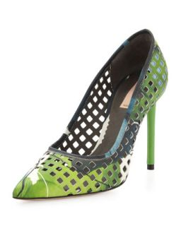 Perforated Floral Pointy Pump   Reed Krakoff   Floral print (36.5B/6.5B)