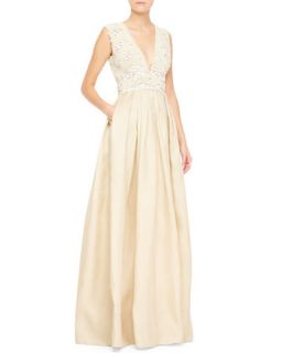 Womens Sleeveless Embellished Bodice Gown, White/Nude   Naeem Khan