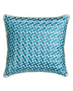 Pillow w/ Blue Embroidery, 12Sq.