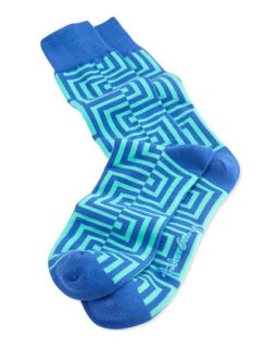 Mens Maze Pattern Knit Socks, Blue   Arthur George by Robert Kardashian   Blue