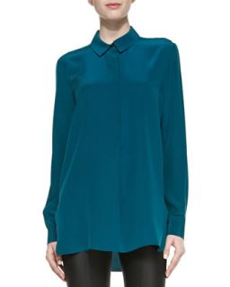 Womens Long Sleeve Half Placket Silk Blouse   Vince   Petroleum (0)