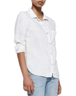 Womens Perfect Linen Cotton Shirt   rag & bone/JEAN   White linen (SMALL)