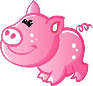 Children's Wall Decals   Pink Pig with White Spots, White Nose, Curly Tail   12 inch Removable Graphics (4 same)   Prints