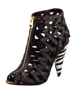 Hand Stitched Lattice Leather Bootie   Tom Ford   Dark brown (38.0B/8.0B)