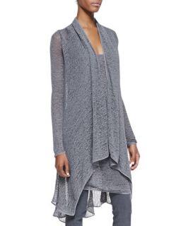 Womens Long Sleeve Cozy Cardigan   Donna Karan   Greystone (SMALL)