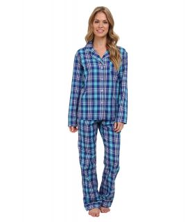 BOTTOMS O.U.T GAL Woven Long Sleeve PJ Set w/ Pants Womens Pajama Sets (Blue)