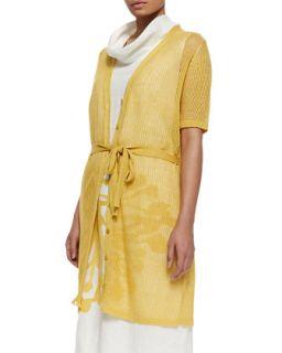 Mecenate Semi Sheer Tie Waist Cardigan, Womens   Marina Rinaldi   Yellow (X
