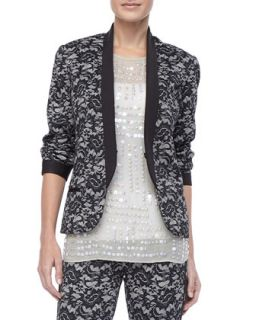 Womens Fitted Delicate Lace Jacket   Nicole Miller   Oyster (MEDIUM(6 8)