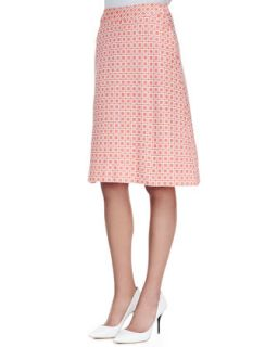 Womens Scarlet Check Brocade A Line Skirt   Trina Turk   Red (2)