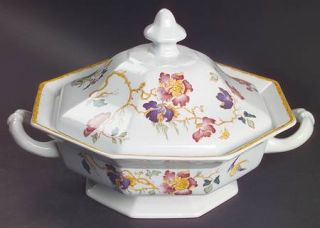 Wedgwood Devon Rose Octagonal Covered Vegetable, Fine China Dinnerware   Georget