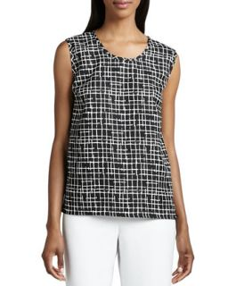 Womens Travel Crosshatch Shell   Caroline Rose   Black/White (MEDIUM (10))