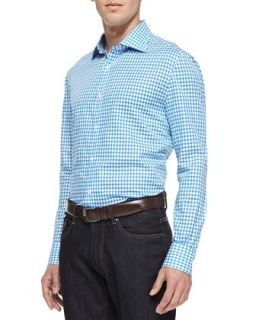 Mens Cotton Linen Blend Check Shirt, Turquoise   Isaia   Turquoise (43)
