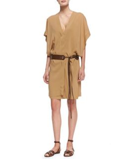Womens Draped Dress with Grommeted Leather Tie Belt, Musk   Donna Karan   Musk