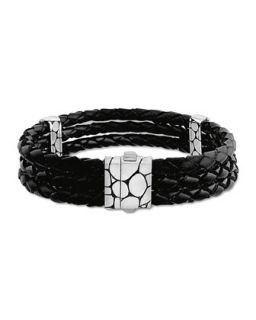 Mens Kali Black Woven Leather Triple Row Bracelet   John Hardy   Black