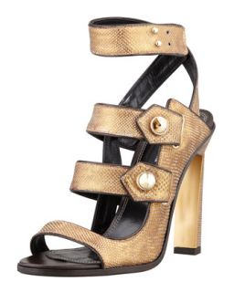 Beatrice Snakeskin Strappy Sandal, Bronze   Derek Lam   Bronzo (37.5B/7.5B)