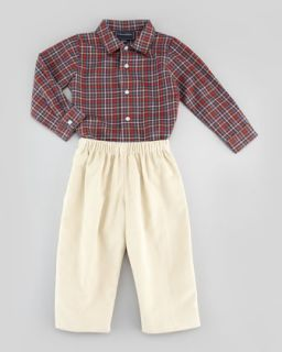 Baby Boys Grid Check Oxford Shirt, Brown, 18M 2Y   Oscar de la Renta   Brown