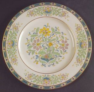 Lenox China Mystic Salad Plate, Fine China Dinnerware   Multicolor Band & Floral