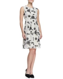 Womens Full Skirt Floral Lace Dress, Ivory/Black   Lela Rose   Ivory/Black (6)