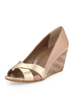 Daphne Combo Wedge Pump, Platinum   Anyi Lu   Platinum bisque (40.0B/10.0B)