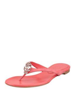 Skull Detail Suede Thong Sandal, Geranium   Alexander McQueen   Pink (37.5B/7.