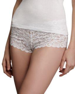 Womens Luxury Moments Boy Leg Brief   Hanro   White (SMALL)